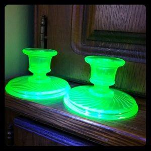 Antique Uranium Depression Glass Candle Holders -2